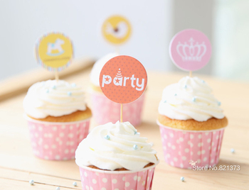 Free Shipping wedding party cake toppers monogram, DIY paper muffin cupcake picks for kids birthday favors decorations supplies
