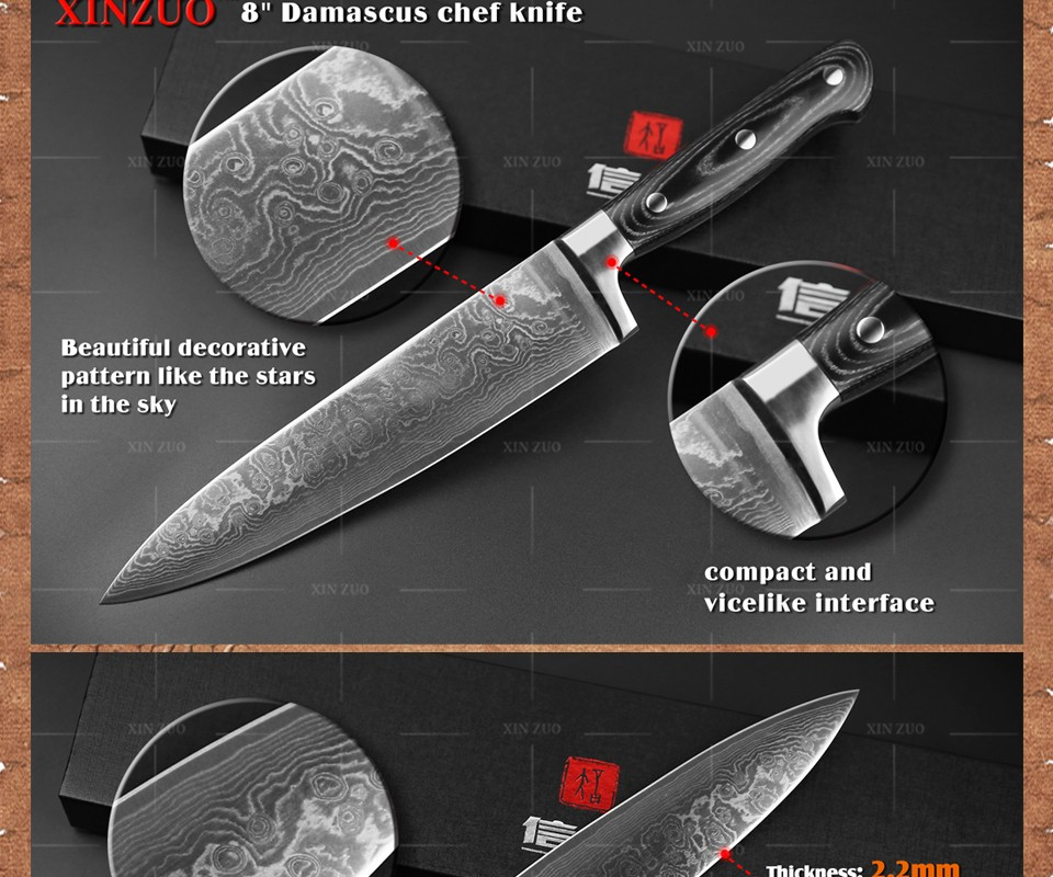 """Buy 8"""" inch chef knife 73 layers Damascus kitchen knife  Color wood handle high quality sharp japanese VG10 chef knife free shipping cheap"""