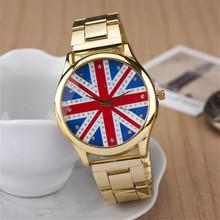 Envío gratis relogio masculino reloj de cuarzo, oro de acero lleno de la correa relojes mujer. bandera británica ginebra mujeres del reloj digital