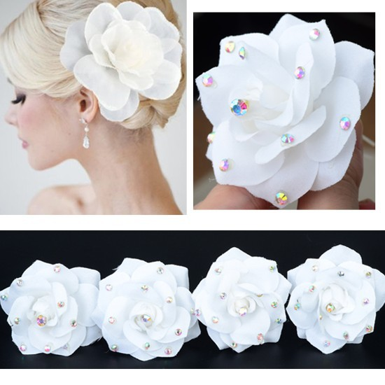 Wholesale 3Pcs White Lace silky flower crystals Bridal Wedding Headpiece Hair Clips(China (Mainland))