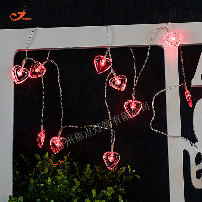 Double Love Heart Romantic Wedding Decor String Light Fairy Spring Christmas Festival Patio Party 10 LED Home Garlands Lighting(China (Mainland))