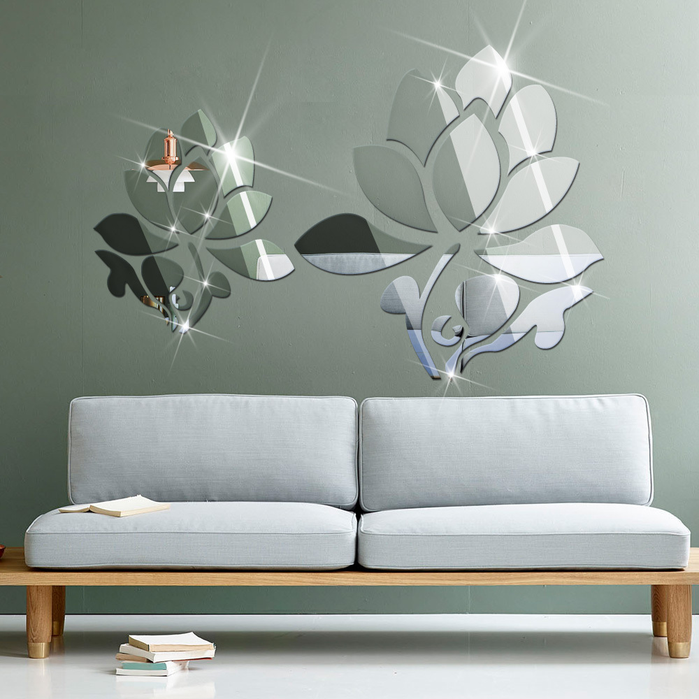 Listed in stock lotus flowers wall mirror stickers living for Mirror 80 x 50