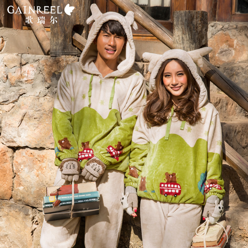 Song Riel autumn and winter flannel pajamas cartoon couple long sleeved thick male Ms Pyjamas suit