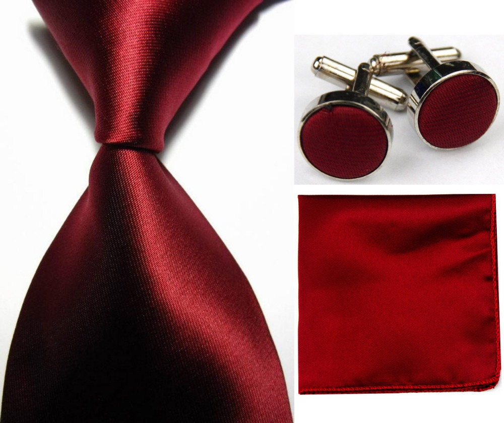 "4""/10cm Wide Mens Accessories Solid Classic Business Silk Ties Set Hanky Handkerchief Cufflinks Neckties for Men red black blue(China (Mainland))"