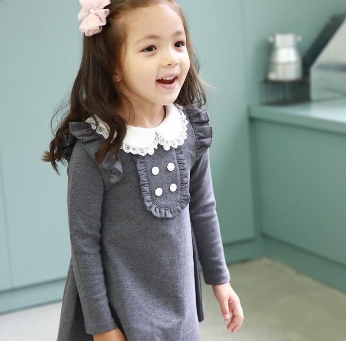 2015 Christmas gift cotton dress doll collar long sleeved casual girls A-line mini dress kids child girl clothing freeshipping(China (Mainland))