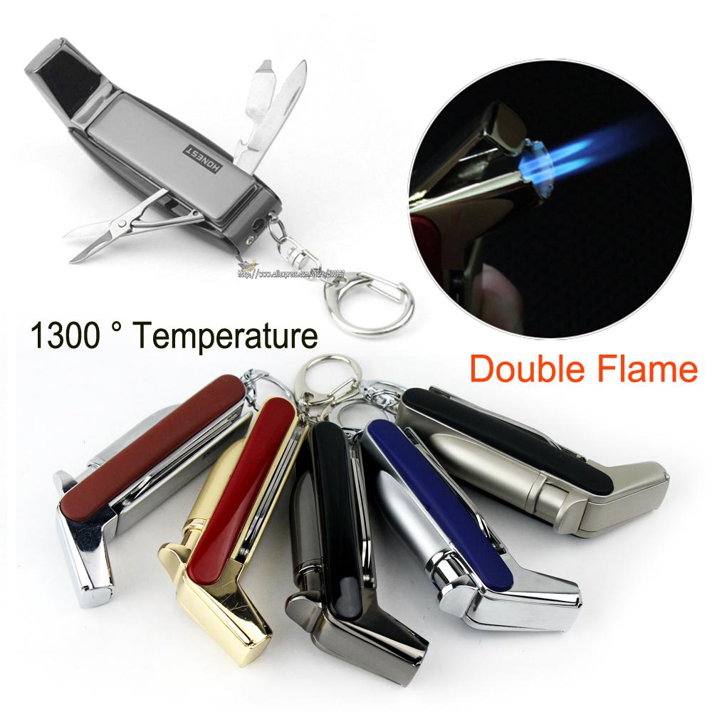 HONEST 1300'C Butane Jet 1300 C Lighter Torch Cigarette Cigar Lighter Cigar Tools 5 Colo(China (Mainland))