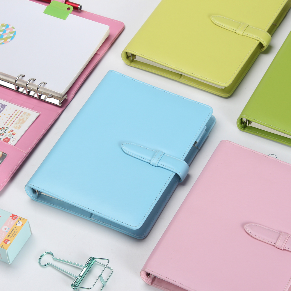 Macaron 2.0 new leather spiral notebook,cute personal agenda planner organizer,office school travel diary/ planner binder A5 A6(China (Mainland))