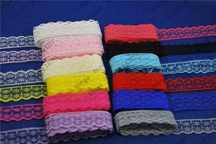 Top Lace DIY Wedding Invitations 10yards/ lot 25MM Width 12 Colors Lace Fabric Lace Trim Lace Ribbon Garment Accessories L133-1(China (Mainland))