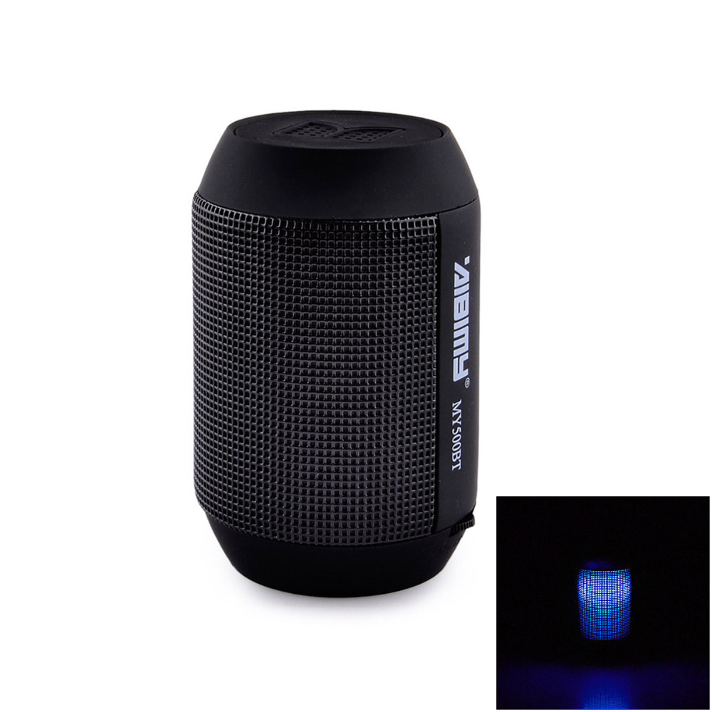 MY-500BT Mini Portable Bluetooth Wireless Speaker with Colorful LED Light Subwoofer HIFI Speaker Support USB TF Card - Black(China (Mainland))