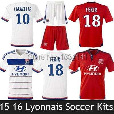 2015 France Soccer Jerseys Olympique Lyonnais Kits Sets Lyon 2016 Lacazette Fekir 15 16 Olympique Lyon Uniforms Maillot De Foot(China (Mainland))