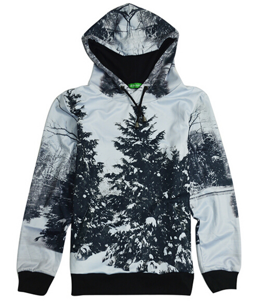 Snow trees print fleece hoodie the snow image Christmas rave 3D sweatshirts pullovers plus size hoodies casual tops(China (Mainland))