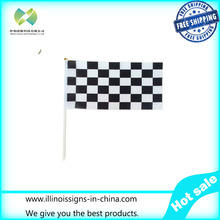 20*30cm Checkered flags with Plastic Flagpole,black and white chequered flag,Printed race check hand flag