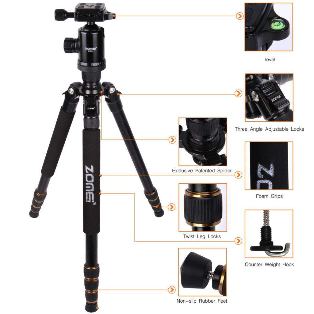 ถูก Zomei Z688อลูมิเนียมแบบพกพาMonopodที่มีหัวลูกถ่ายภาพเดินทางขนาดกะทัดรัดสำหรับกล้องดิจิตอลSLR DSLRยืน