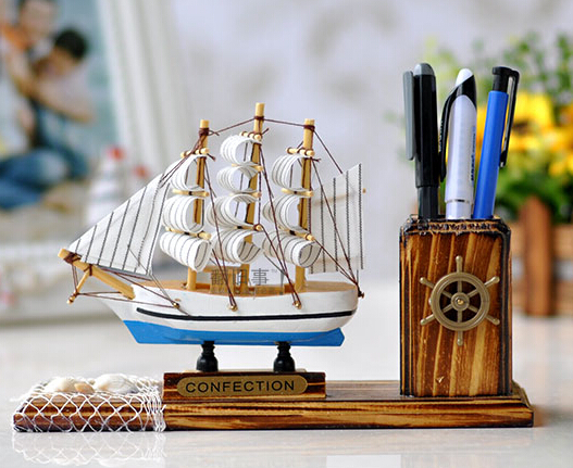 Mediterranean Style 1pc 21cm fashion Sailing ship helm pen container pencil holder wood room household home decoration(China (Mainland))