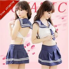 Buy Hot student sexy costumes women japanese school uniform pure schoolgirl costume blue sexy lingerie