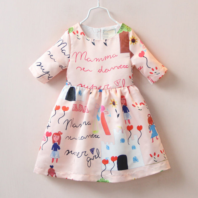 New Summer 2016 Girls Cartoon Dresses Cute Letters Love Heart Balloon Children Clothes Princess Sofia Dress 8050(China (Mainland))