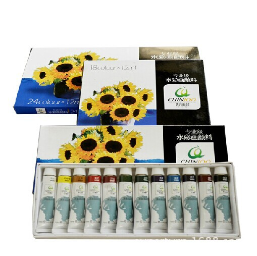 Free shipping Green bamboo  watercolor pigment 12ml 24/18/12 color pigment professional level