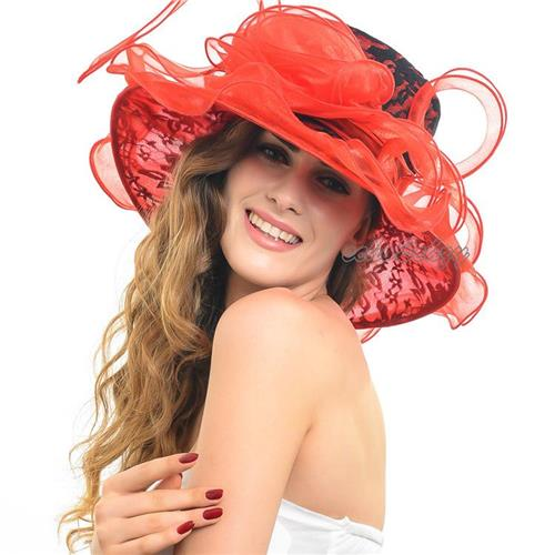 Promotion Wide Brim Floppy Hats Organza Kentucky Derby Ascot Church Hats for Ladies Fashion Wedding Bridal Dress Hats S045(China (Mainland))