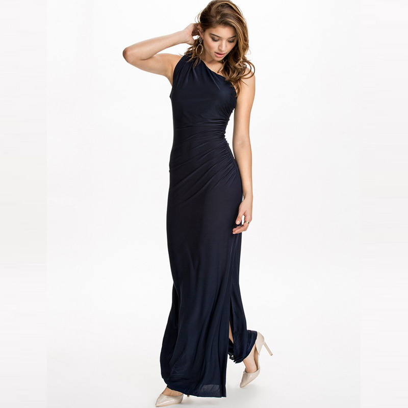 R70332 One shoulder black cheap maxi sundresses wholesale and retail fashion long sexy dress best selling cheap pretty dresses(China (Mainland))