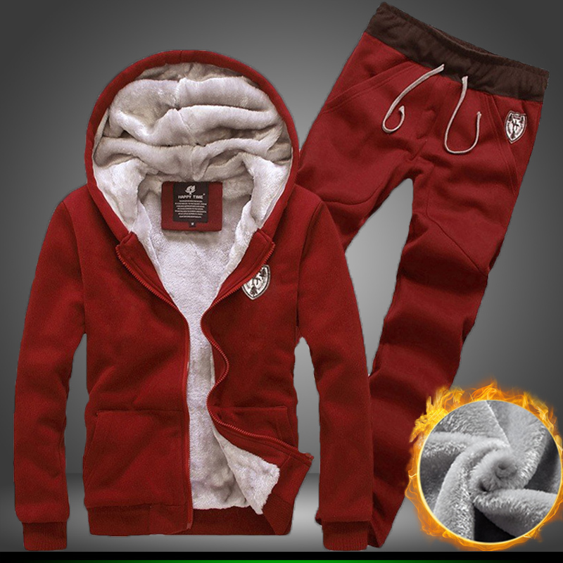 Free ! new autumn/winter plus velvet warm hoodie sweat pants sport suit (coat+pants) male and female models fashion solid color(China (Mainland))
