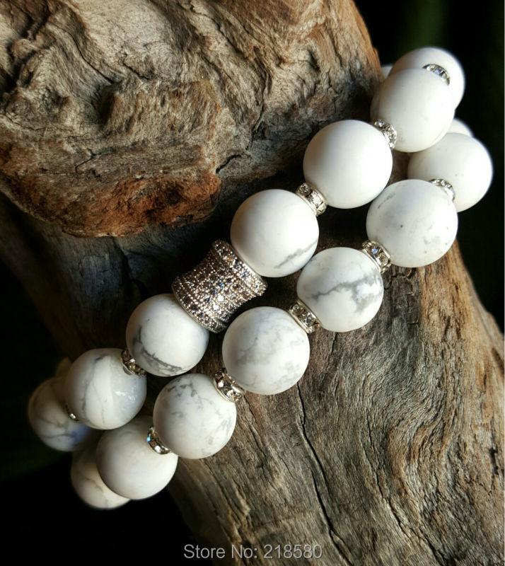 B15101617 White Turquoise Marble Effect Beads Stretch Bracelets Micro Pave Tube Bracelets set(China (Mainland))