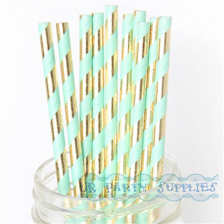 250pcs Paper Straw Mint Green Gold Foil Striped Paper Straws Bling Bridal Shower Brunch Glam Baby Shower Decor Wedding Straws(China (Mainland))