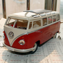 Free Shipping Brand New 1/24 Scale Diecast Car Model Toys 1962 Volkswagen Classic Bus Red Metal Classic Car Model Toy For Gift(China (Mainland))
