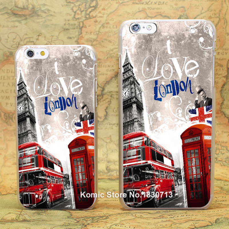 LONDON BUS Pattern hard transparent clear Cover Case for iPhone 4 4s 5 5s 5c 6 6s 6 Plus(China (Mainland))