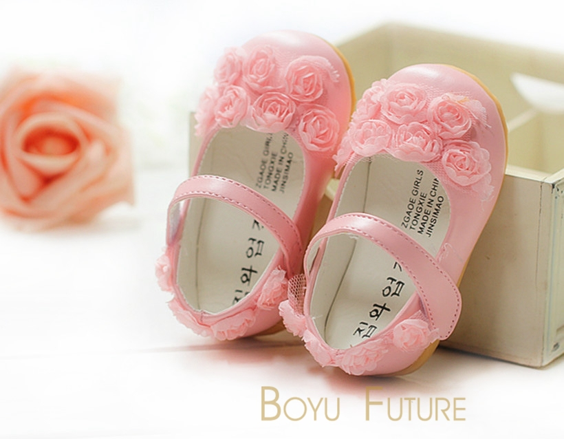 Cute Baby Girl First Walkers Toddler Shoes Rose Lace PU Children's Shoes Soft Sole Infant Flats Kids Shoes Children Shoes 6-24M