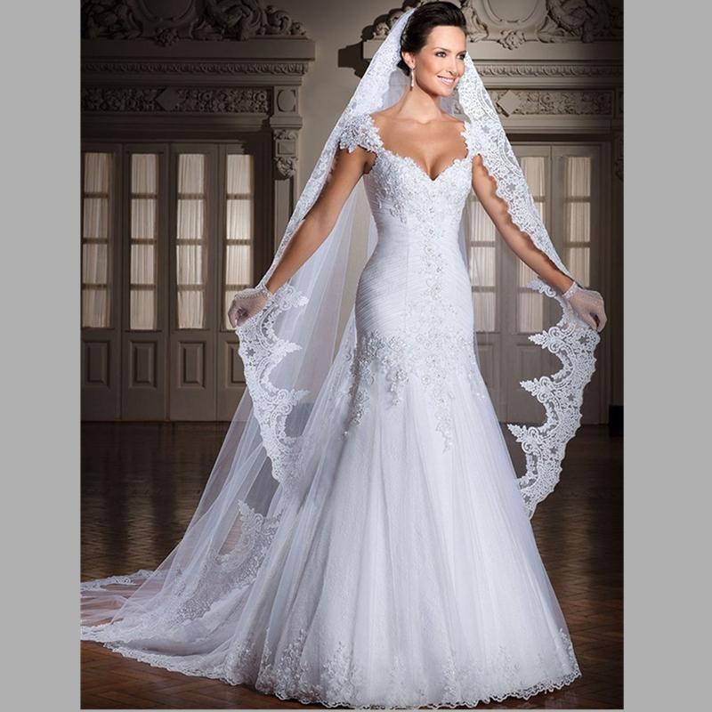 Buy 2015 elegant mermaid vintage long for Wedding dress appliques suppliers