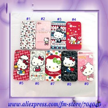 Free shipping Cartoon For iphone 4 4G Hello Kitty Plastic Hard Back Case