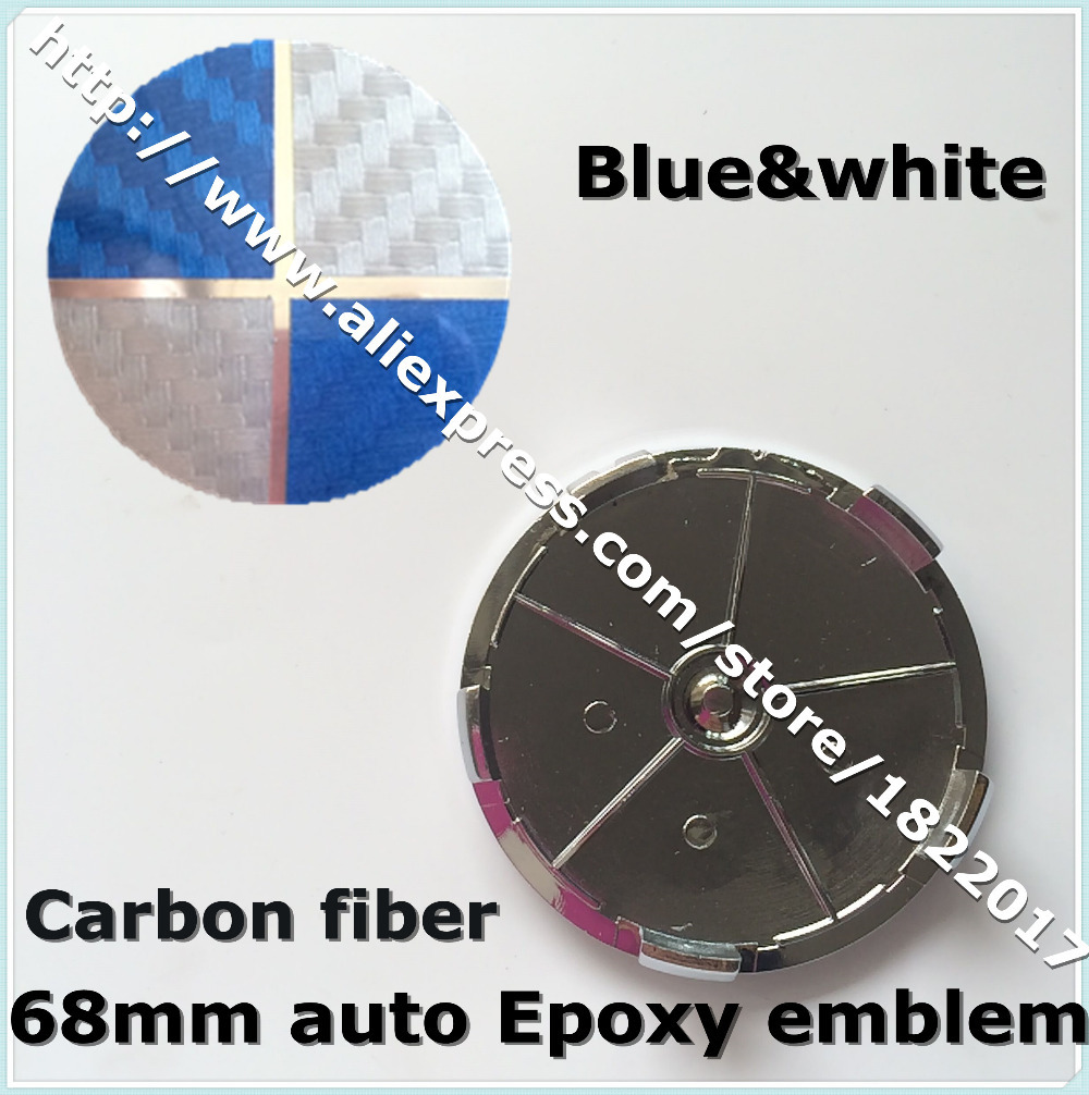 Hot selling 4pcs 68mm Epoxy Resin blue White Carbon Fiber Wheel Center Cap Badge Emblem car covers for AUTO CAR accessories(China (Mainland))