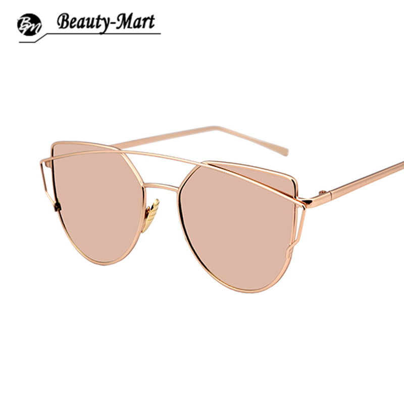 Fashion Cat Eye Sunglasses Women Brand Designer Metal Reflective Mirror Sun Glasses For Women Twin-Beams Glasses Gafas Oculos(China (Mainland))