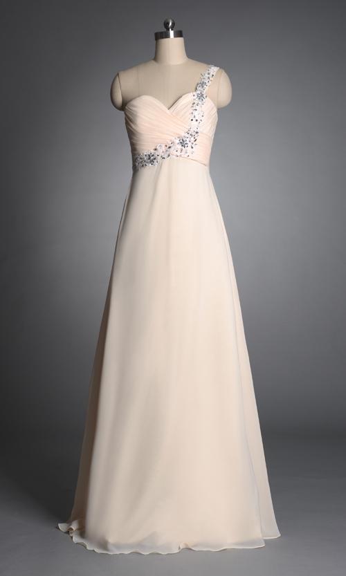 Zj0043 шампанское цветной шифон одно плечо ну вечеринку платья дамы 2013 платье невесты долго