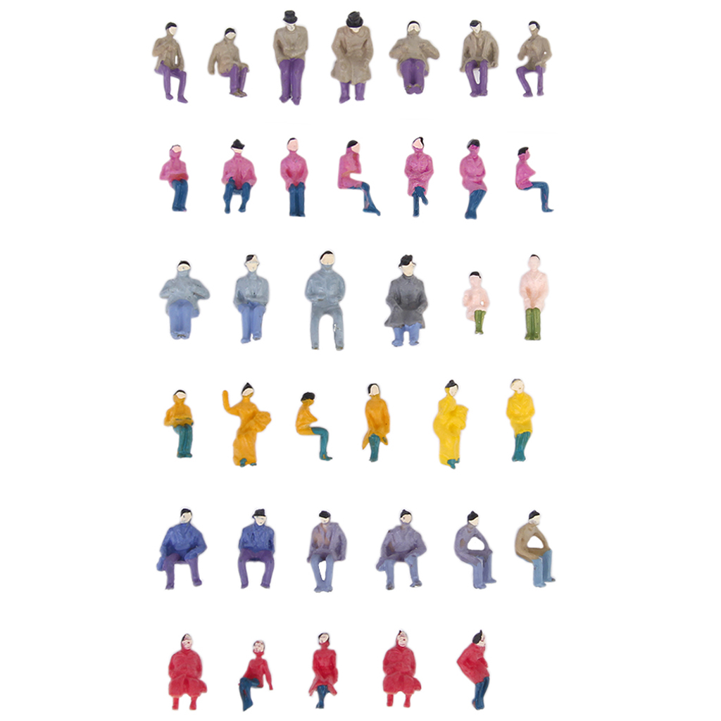 50pcs Painted Model Train Seated People Passengers Figures 1:87 HO Scale Model Building Kit Perfect for Layout Diorama Accessory(China (Mainland))