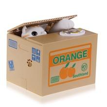 1pcs 2016 Hot Sale Automated Cat Steal Coin Bank Piggy Bank Moneybox Money Saving Box Gifts digital coin jar alcancia de gato(China (Mainland))