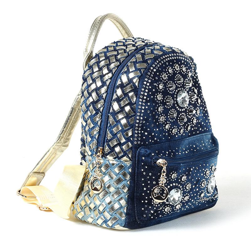 2015 Famous Brand Women's Fashion Backbag Rucksack Denim Diamond Rivets Backpack School Bags For Women Veloryukzak Backpacks(China (Mainland))