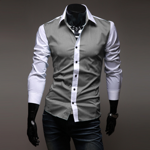 2015 casual designer brand Iron mixed colors slim fit lapel long-sleeved men shirt mens dress shirts 2 color M-XXL - Clothing kingdom forever store