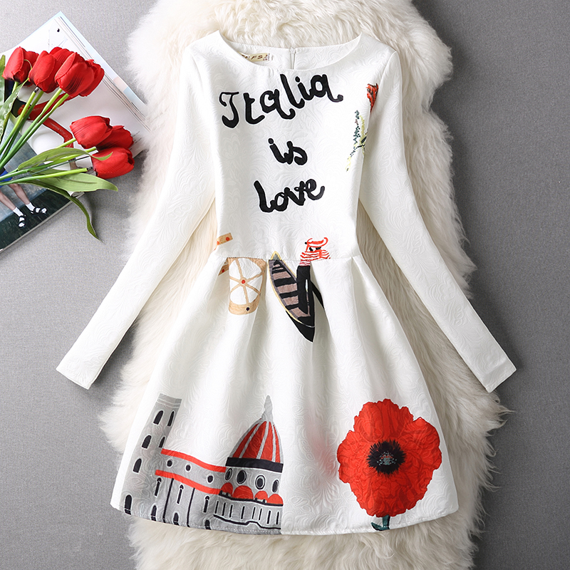 100% Real 2016 Ladies Long Sleeve Autumn Jacquard Letter Floral House Printed Dress Fairy for Party Brand Design Women Dresses(China (Mainland))