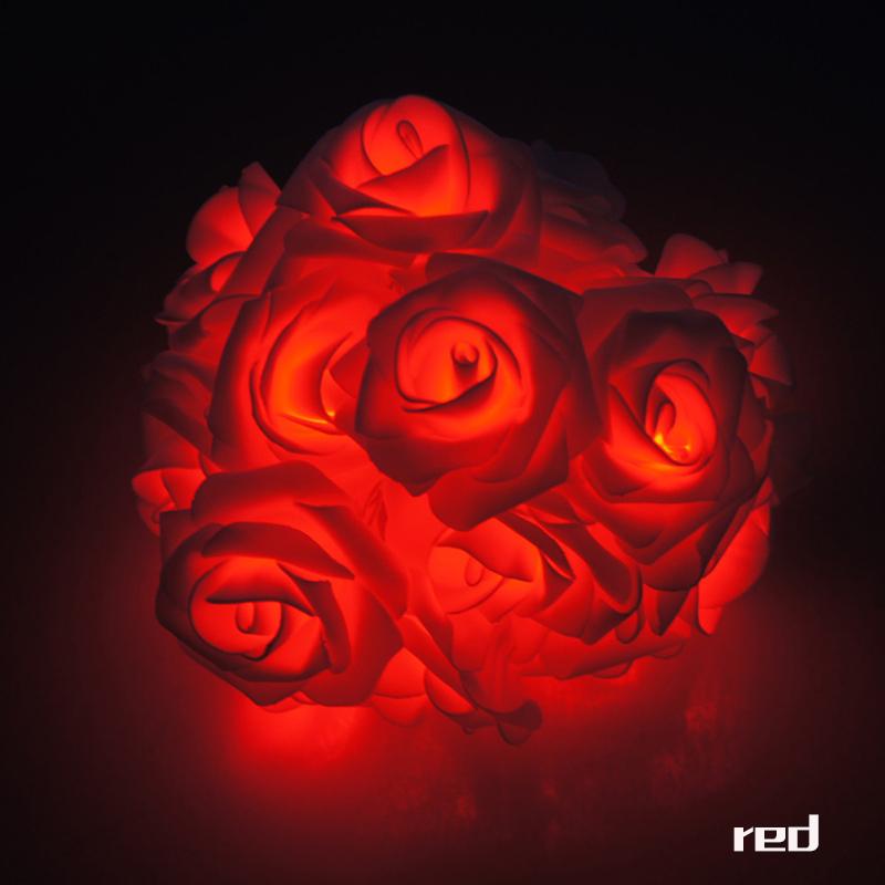 Garland 20pcs/set Rose Flower Fairy luces decorativas string lights guirlan lumineuse LED Garden Party Decoration zk90(China (Mainland))