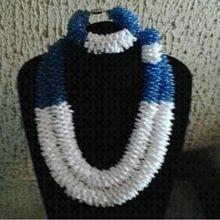 יוקרה אפריקאי כלה תכשיטי סטי תלבושות קולר כהה כחול קובע לנשים משלוח חינם 2018 ניגרית תכשיטים(China)