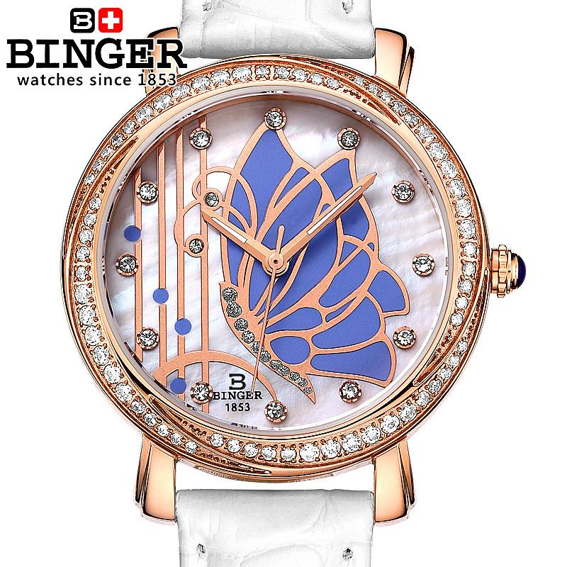 Switzerland Binger watches women fashion luxury watch leather strap quartz  butterfly diamond Wristwatches B-3019L-4<br><br>Aliexpress