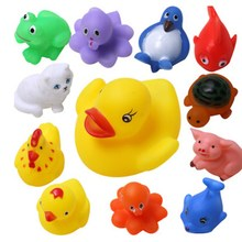 13Pcs Animals Child Baby Kids Bath Toy Soft Rubber Float Squeeze Sound Wash Bath Swimming Soft Float Toys(China (Mainland))