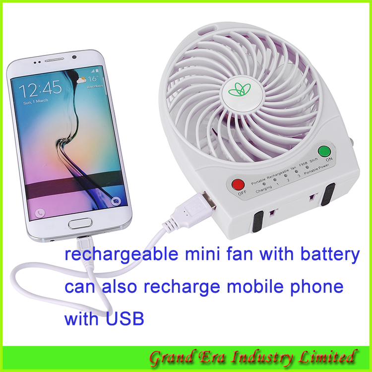 mini desktop fan with USB and 18650 battery can recharged by USB PC and power bank desk mini personal fan battery powered FH03(China (Mainland))