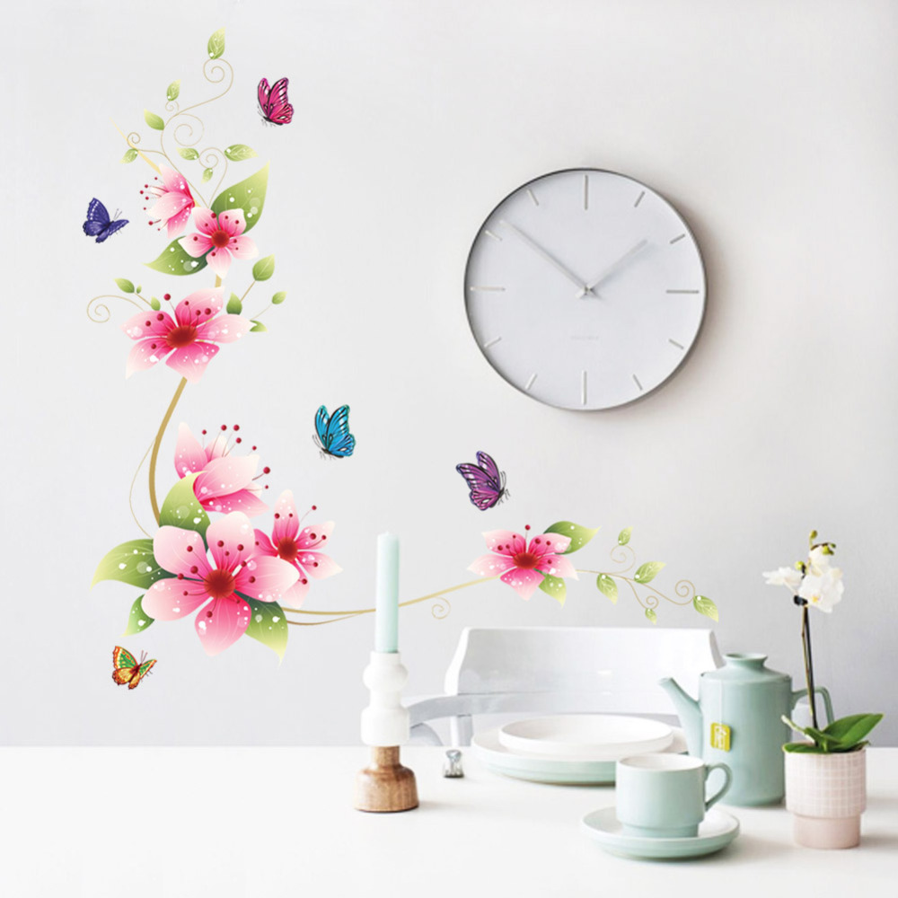 Buy 5 Design Small Sakura Flower Wall Stickers Bedroom Room Pvc Decal Mural