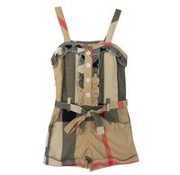 أطفال جديدة 2015 الساخن بيع الفتيات الملابس الصيفية القطن بذلة الكاكي سيامي أزياء الفتيات السروال
