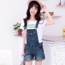 2014 Korean cute suspenders denim shorts cruel girls jeans overalls causal nice loose romper womens jeans jumpsuit free shipping
