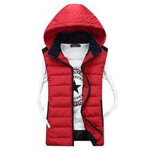 New 2016 Winter Casual Thick Vest Men High Quality Hooded Four Colors Chaleco Con Capucha Slim Cotton-padded Lovers' Waistcoat(China (Mainland))
