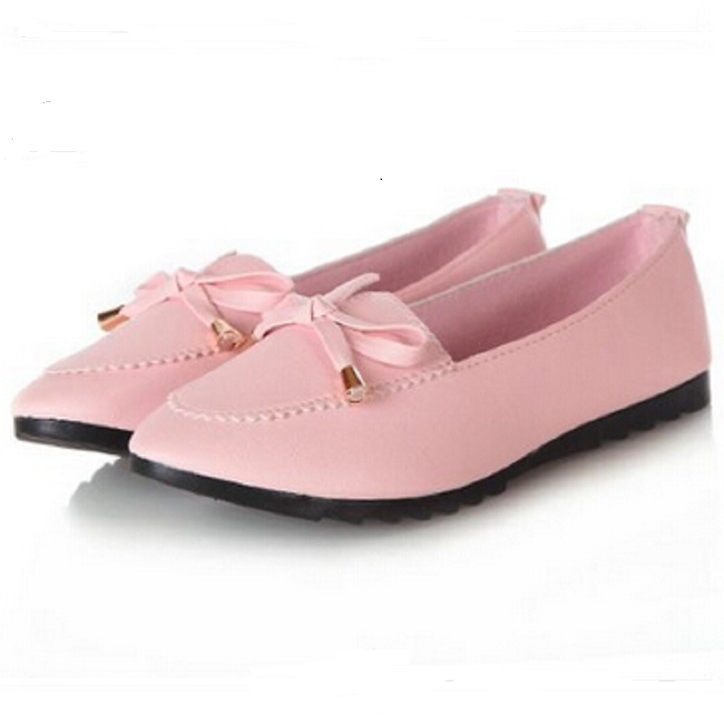 shoes trendy casual flat heel bow knot toe