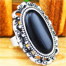 Vintage Look Antique Silver Plated Fantastic Oval Flowr Bead Adjustable Black Turquoise Rings R327